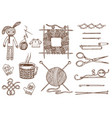 set tools for knitting or crochet and materials or vector image vector image