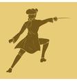 Seventieth century swordsman in carved style vector image vector image