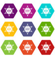 sheriff badge icon set color hexahedron vector image vector image