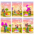 six cards of loving couples at flowering spring vector image