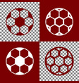 soccer ball sign bordo and white icons vector image vector image