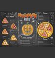 Vintage chalk drawing halloween menu design