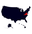Virginia State in the United States map vector image