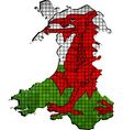 Wales map with flag inside vector image