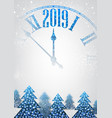 white 2019 new year background with clock and vector image