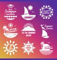 white summer rest labels with sun and sea vector image vector image