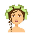 young woman with hair rollers and one curly lock vector image