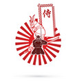 2 samurai composition with flag japanese font vector image vector image