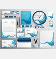 abstract blue wave modern business stationery vector image