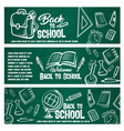 back to school chalkboard banner with student item vector image vector image
