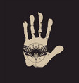 banner with handprint and scary moth on a black vector image