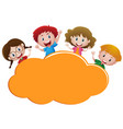 border template with four happy kids vector image vector image