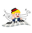 boy singing and playing piano vector image vector image