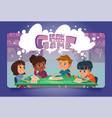 brain storm game cartoon landing page boardgame vector image