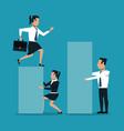 business people cartoon on statistics bars vector image