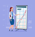 business woman with flip chart seminar training vector image vector image