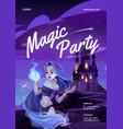 cartoon magic party poster vector image vector image