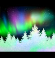 christmas background with northern lights vector image vector image