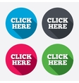 Click here sign icon Press button vector image