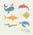 collection of icons of sea inhabitants in flat vector image vector image