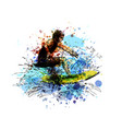 colored hand sketch surfer vector image vector image