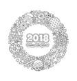 congratulation card happy new year 2018 wreath vector image vector image
