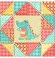 Crocodile quilt pattern vector image