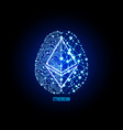 crypto currency ethereum on brain background vector image vector image
