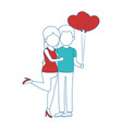 cute couple in love with balloons air vector image vector image