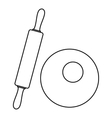 Dough and rolling pin icon outline style