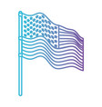 flag united states of america in pole waving to vector image vector image