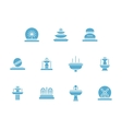 Fountains decor glyph style icons set vector image vector image