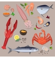 fresh seafood with spices icons collection vector image vector image