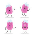 funny pink solid soap with bubbles vector image