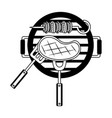 grill barbecue meat skewer fork vector image vector image