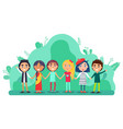 group children holding hands friendship vector image vector image