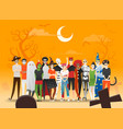group teens in halloween costume concept vector image vector image