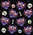 halloween seamless pattern with bats on dark vector image