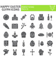 happy easter glyph icon set holiday symbols vector image