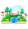 happy kids playing on nature vector image vector image