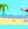 hello summer beach backdrop seascape flyer banner vector image vector image