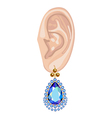 Human ear and hanging earring vector image vector image