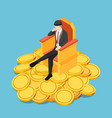 isometric successful businessman sitting on vector image vector image