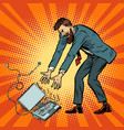 man destroys laptop stress at work vector image vector image