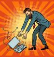 man destroys laptop stress at work vector image