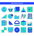 mathematics icon set in colored line style vector image vector image