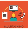 Multitasking Monitor Computer Phone Paper vector image vector image