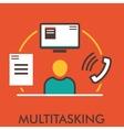 Multitasking Monitor Computer Phone Paper vector image