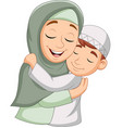 muslim mother hugging her son vector image vector image