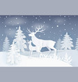 nature at night with deer and spruce trees vector image